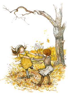 Dancing in the autumn leaves.
