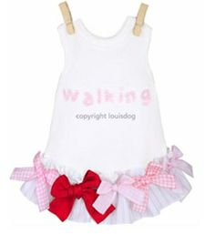Dog Dresses- Louis Dog Ribbon Dress White Pink