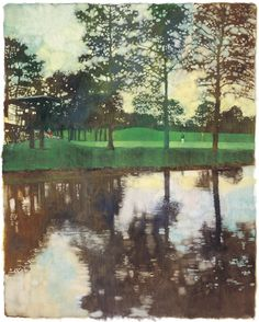Bernie Fuchs - Augusta 15th hole - 55×43cm  Love how he handles the reflections