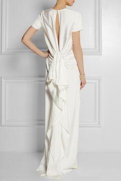 Lanvin|Ruffled satin-twill gown|NET-A-PORTER.COM