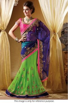 Bollywood Style Model Net Lehenga Saree In Blue and Green Colour NC691