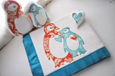 Organic Penguin Baby Blanket Gift Set   Personalized by bankiebaby, $89.00