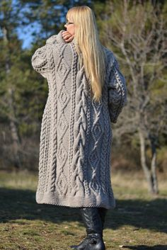 READY handmade coat wool cardigan handknit robe long by Dukyana
