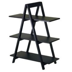 """A-frame bookshelf in black with three shelves.       Product: Bookcase   Construction Material: Wood     Color: Black    Features:   Three shelves for storage   Large storage space for books and media contents        Dimensions: 29.75""""  H x 30.12""""  W x 15.28""""  D        Cleaning and Care: Wipe clean with damp cloth"""