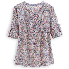 Multicolor Floral Pintuck Tunic - Casual Women's Clothing and Fashion Accessories - Exclusive Styles in Misses and Womens Plus Sizes | Seren...