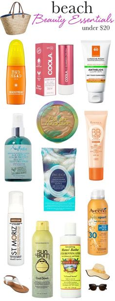 Whether Youll Be Lounging Poolside Or Hitting The Beach, Throw These Sweat-Proof, Frizz-Busting Summer Beauty Essentials In Your Tote To Keep Your Skin, Hair And Makeup In Top Shape.And They're All Under 20 Beauty Essentials, Summer Essentials, Beach Makeup, Summer Makeup, Beach Holiday Makeup, Makeup Tricks, Diy Beauty, Beauty Hacks, Summer Beauty Tips