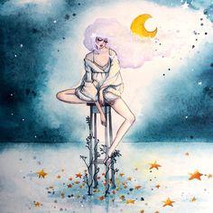 Fallen Stars  Blue by June Leeloo  Watercolour on paper