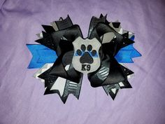 """K9 Officer Hairbow, 7"""" Bow, K9 Lives Matter, Blue LIves Matter, Thin Blue Line Family, Police Officer Bow, Child's Hairbow, by Marshaslilcraftpatch on Etsy"""