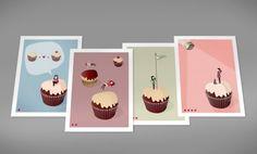 Cupcakes  Set of 4 Prints by teconlene on Etsy, $66.00