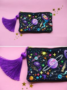 crochetbycalla: sosuperawesome: Embroidered Universe Purses, UFO Pins and Beaded. crochetbycalla: sosuperawesome: Embroidered Universe Purses, UFO Pins and Beaded Jupiter Bag, by Oliness Art Studio on E. Embroidery Bags, Beaded Embroidery, Cross Stitch Embroidery, Embroidery Patterns, Sewing Patterns, Sewing Studio, Creations, Purses, Knitting