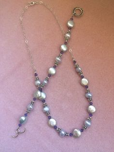 Blue Lace Agate Stone Pendant Necklace.White Pearls.Cluster Necklace.Silver.OOAK.Statement.Bridal.Gemstone.Chunky.Beaded.Formal.Handmade.