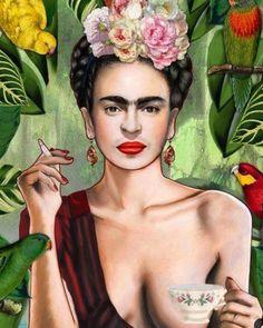 'Frida Kahlo Jungle Painting ' Poster by JeromeTedder Painting Prints, Canvas Prints, Art Prints, Oil Paintings, Frida Paintings, Canvas Artwork, Fridah Kahlo, Pop Art, Frida Kahlo Portraits