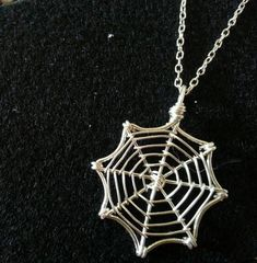 Silver Wire Spider Web Necklace by hearttohearts on Etsy, $25.00