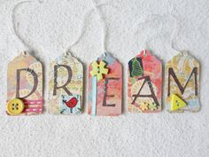 Set of 5 tags DREAM. Scrapbook embellishments by JunkyardStitches, $5.50