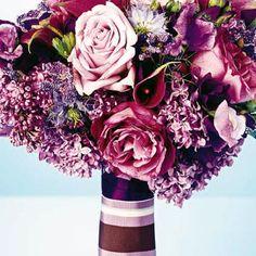 Variations of plum wedding bouquet