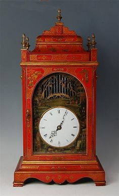 A century English chinoisserie red lacquered musical bracket clock… Unusual Clocks, Cool Clocks, Glass Waterfall, Lacquer Furniture, Clock Shop, Mantel Clocks, Historical Artifacts, Grandfather Clock, Antique Clocks