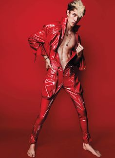 Moda Trends Magazine - Lucky Blue Smith rocks a red jumpsuit. #Red #Jumpsuits
