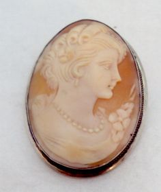 Vintage 800 Silver Carved Shell Cameo Pin Pendant by bitzofglitz4u, $60.00