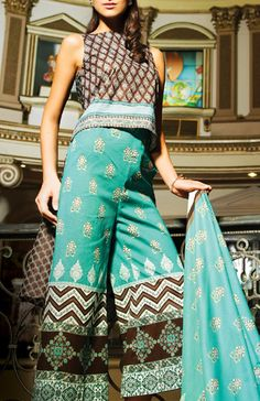 Buy Turquoise Embroidered Cotton Lawn Dress by Al-Karam Spring Vol.1, 2015 Lawn Collection 2015.
