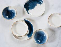 Splatter Plates / Suite One Studio / porcelain plates Salt And Pepper Cellars, Kitchen Queen, Dyi Crafts, Tiny Treasures, Ceramic Design, Ceramic Pottery, White Ceramics, Studio, Tableware