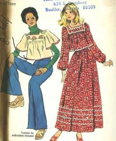 Vintage Sewing Pattern 1970s Simplicity 6037 Teens Retro Smock Top Maxi Skirt Bust 33 by SewMrsP