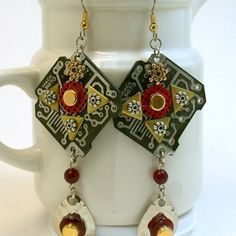 RECYCLED CIRCUIT BOARD Steampunk Xmas Holiday EARRINGS Vintage Beads