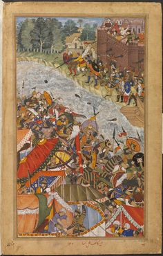 Akbarnama  an unidentified episode in 1567 on the bank of the river Ganges in north-east India, preceding the defeat of the rebel general Khan Zaman by the Mughal army. by Kanha  & Nanha  V&A