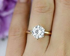A 2.2 CARAT ROUND CUT RUSSIAN LAB DIAMOND SOLITAIRE STAINLESS STEEL PLATINUM ENGAGEMENT BIRTHDAY PROMISE ANNIVERSARY RING