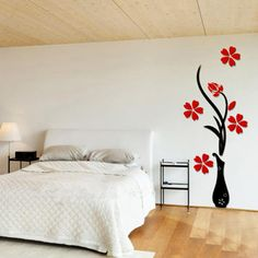Cool 3 Different Colors Beautiful Three Dimensional Vase Background Flower Tree Acrylic Wall Sticker DIY Poster Home Decoration - Buy it Now! Wall Stickers Space, 3d Mirror Wall Stickers, Nursery Wall Stickers, Diy Stickers, Vinyl Diy, Wall Clock Design, Wall Decor, Room Decor, Diy Crystals