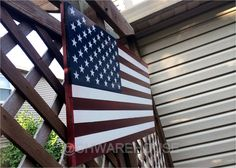 """Wooden American Flag Wall Hanging distressed american flag wall decor 1776 style-24"""" x 17""""/americana"""