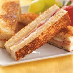 Ham 'n Cheese Brunch Strips:  These handheld sandwich strips pair well with a brunch menu. If desired, substitute slices of cooked chicken for the ham.