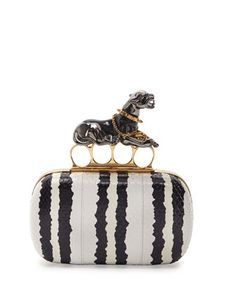 Snakeskin Panther Knuckle-Duster Clutch Bag, Black/White by Alexander McQueen at Bergdorf Goodman.