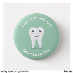 Smiley Tooth Pinback Custom Kids Button
