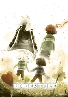 Asriel and Frisk (and Chara) Fanart