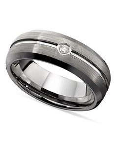 Triton Men's Ring, Tungsten Diamond Accent Comfort Fit Wedding Band - Rings - Jewelry & Watches - Macy's