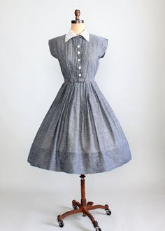 Vintage 1950s Librarian Chic Grey Cotton Day Dress