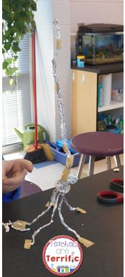 STEM Challenge: What is holding this tower up? Two supplies and only a dozen in quantity! Great STEM challenge! Students must work diligently and really work on counter-balancing!