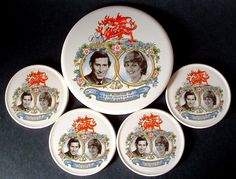 Royal Wedding Princess Diana Charles Tea Tile And Coasters 1981 Photos In Box