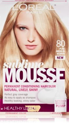 LOreal Healthy Look Sublime Mousse Hair Color Pure Medium Blonde 80 -- See this great product by click affiliate link Amazon.com