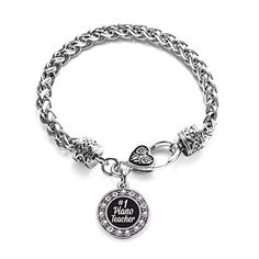 Inspired Silver 1 Piano Teacher Circle Charm Braided Bracelet Silver Plated with Crystal Rhinestones >>> Want to know more, click on the image. Note:It is Affiliate Link to Amazon.