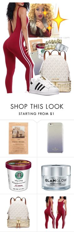 """""""Untitled #377"""" by kfashion757 ❤ liked on Polyvore featuring H&M, Kate Spade, GlamGlow, Michael Kors and adidas"""