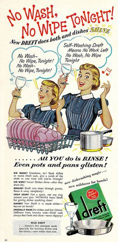 No Wash, No Wipe Tonight!  Dreft dish soap vintage ad with mom & daughter in matching dresses & hairstyles