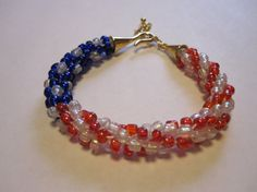 Bracelet patterns spirals and jewelry sets on pinterest for Patriotic beaded jewelry patterns