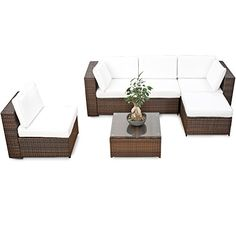 Lounge Wohnlandschaft Sofa Sessel Tisch Hocker Rattan Polyrattan Geflecht  Gartenmöbel Beige Braun Marseille | Pinterest | Cane Furniture, Gardens And  Garden ...