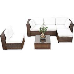 Schon XXL Lounge Set Polyrattan   Braun   Gartenmöbel Sitzgruppe Garnitur Lounge  Möbel Set Aus Polyrattan   Inkl. Lounge Sessel + Hocker + Ecke + Tisch +  Kissen
