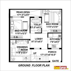 House Plan for 30 Feet by 30 Feet plot (Plot Size 100 Square Yards) - GharExpert.com