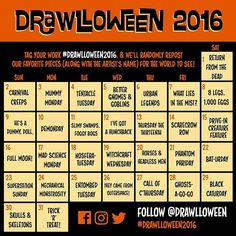 #Drawlloween2016 calendar is here! Get ready for some scary sketches, eerie…
