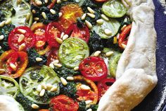 Another NEW RECIPE from our NEW BOOK - Mastering the Art of Vegan Cooling on One Green Planet today - Rustic Pesto and Heirloom Tomato Tart [Vegan]