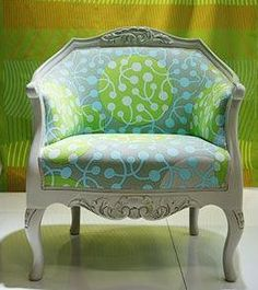 reclaimed chair, green and blue circle fabric