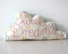 Cloud Cushion Handmade and Embroidered with Sweet Dreams. see reverse via Etsy. Big Cushions, Animal Cushions, Cloud Cushion, Cloud Pillow, Cushion Pillow, Sewing Crafts, Sewing Projects, Sewing Ideas, Free Motion Embroidery
